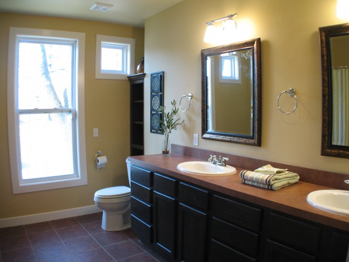 This bathroom was expanded to allow ease of sharing between two bedrooms.